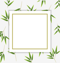 Border template with green bamboo leaves vector