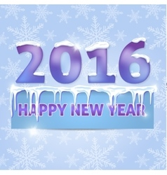 Card Happy New Year 2016 Snowflakes icicles vector image