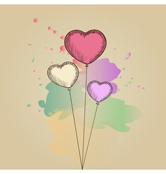 Card with hand-drawn heart-shaped balloons vector image vector image