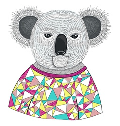 Cute hipster koala vector image vector image