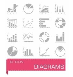 Diagrams icon set vector