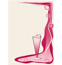 drink red card with cherry vector image