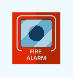 Fire alarm box on wall for warning security wall vector