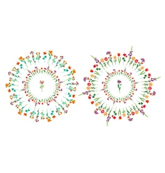 Floral circle set vector image
