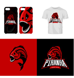 furious piranha isolated sport logo concept vector image vector image