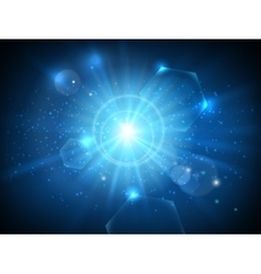 Glowing star in space background vector image
