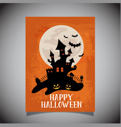 halloween flier with spooky castle design vector image vector image