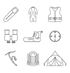 Hiking icons set outline tourism equipment vector