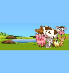 many types of animal on farmyard vector image