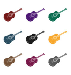 mexican acoustic guitar icon in black style vector image vector image