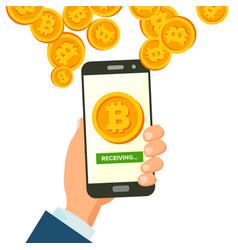 mobile bitcoin receiving concept modern vector image vector image