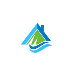 Mountain river house nature logo vector