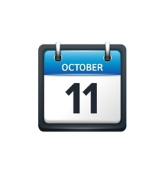 October 11 calendar icon flat vector