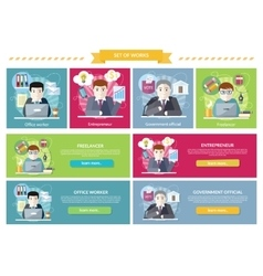 Set of concept work employed freelancer vector