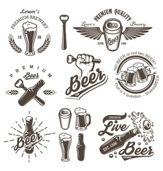 Set of vintage beer brewery emblems vector image vector image