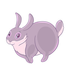 Shy playful gray bunny jumping vector