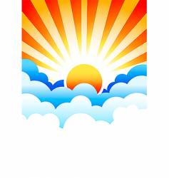Sun rising in clouds vector