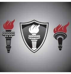 Torch with fire signs and symbols vector