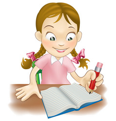 young girl writing in a book vector image
