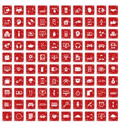 100 programmer icons set grunge red vector image