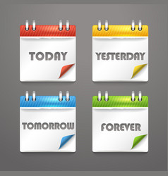 Paper diary icons with bended color corners vector