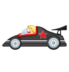 Boy and a racing car vector