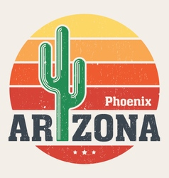 Arizona t shirt with styled saguaro cactus vector