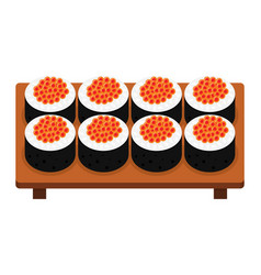 Sushi roll with caviar japanese food vector