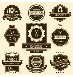 Set of barber shop badges in retro style vector