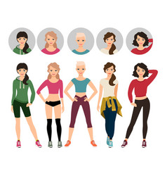Young women in sport clothes vector