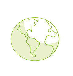 Silhouette global earth plenet with geography vector