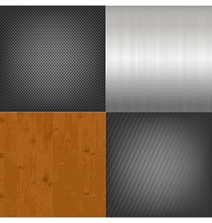 Set of metal and wood texture background vector