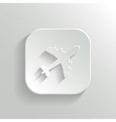 Airplane icon - white app button vector