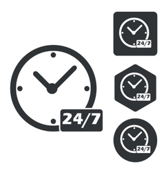Overnight daily icon set monochrome vector