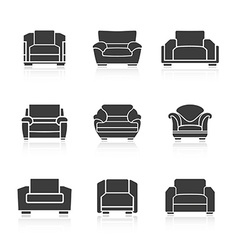 Set of black armchairs vector