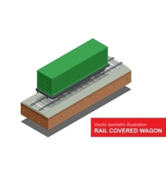 Rail covered wagon isometric vector