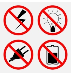 Set of signs prohibiting electric operation the vector