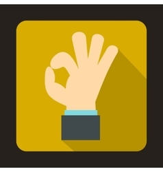 Ok gesture icon in flat style vector
