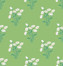 Seamless pattern with chamomile bouquet vector