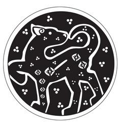 A druidic astronomical symbol of a panther vector