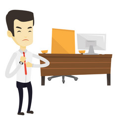 Angry employer pointing at wrist watch vector