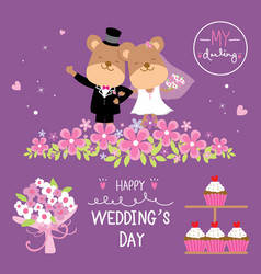 Bear couple wedding flower sweet cute cartoon vect vector