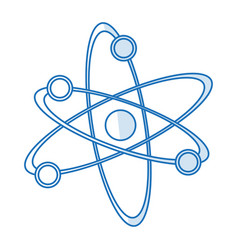 Blue silhouette shading atom structure icon vector