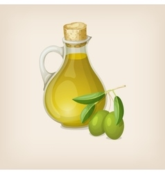 Bottle of olive oil and branch of olives vector image