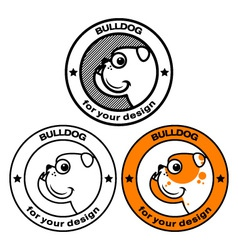 bulldog head in stamp vector image vector image