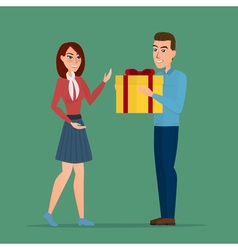 Cartoon boy giving girl a gift box creative color vector