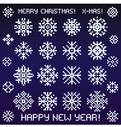 Christmas snowflakes designs in pixel style vector image vector image