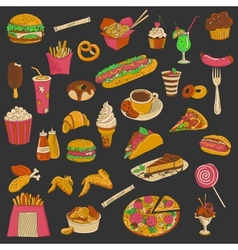 Colored hand drawn fast food icon set vector image vector image