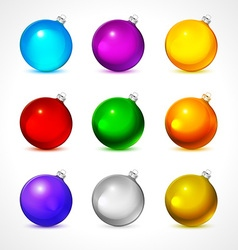 Colorful christmas balls Set of isolated realistic vector image vector image