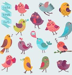 Cute cartoon birds set vector image vector image